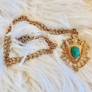 Vintage Coat of Arms Knight Shield Necklace